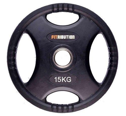 Fitribution 15kg disco de peso HQ caucho con agarraderas 50mm