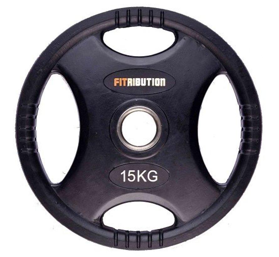 15kg disco de peso HQ caucho con agarraderas 50mm