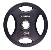 Fitribution 10kg weight plate HQ rubber with grips 50mm