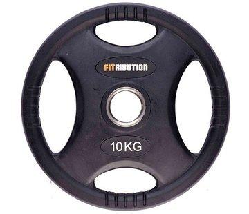 Fitribution 10kg Disco De Peso HQ Caucho Con Agarraderas 50mm