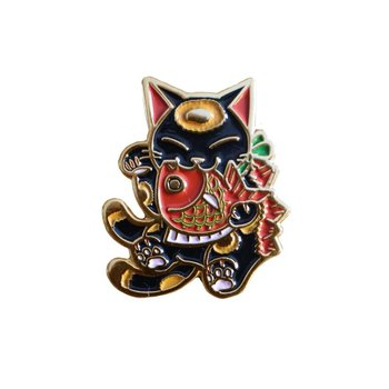 Negora & Koi pin (Black & Red) by Konatsu
