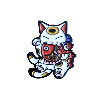 Negora & Koi pin (White & Red) by Konatsu