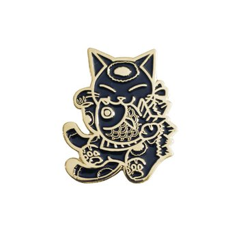 Negora & Koi pin (Black & Gold) by Konatsu