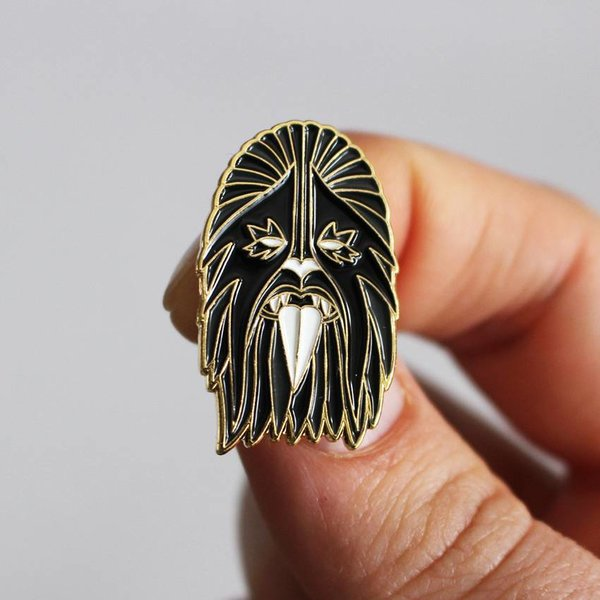 Heavy Metal Wookie Pin (Black & Gold) by I Break Toys