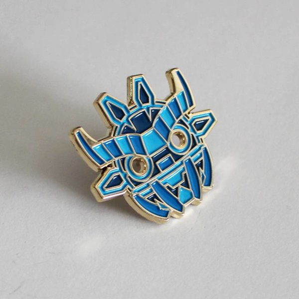 Ancient Boo Mask Pin (Blue) by Angry Hedgehog