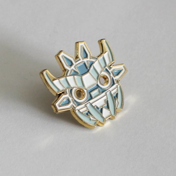 Ancient Boo Mask Pin (White) by Angry Hedgehog
