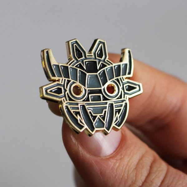 Ancient Boo Mask Pin (Black) by Angry Hedgehog