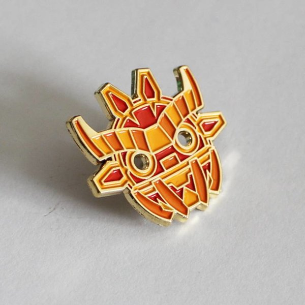 Ancient Boo Mask Pin (Orange) by Angry Hedgehog