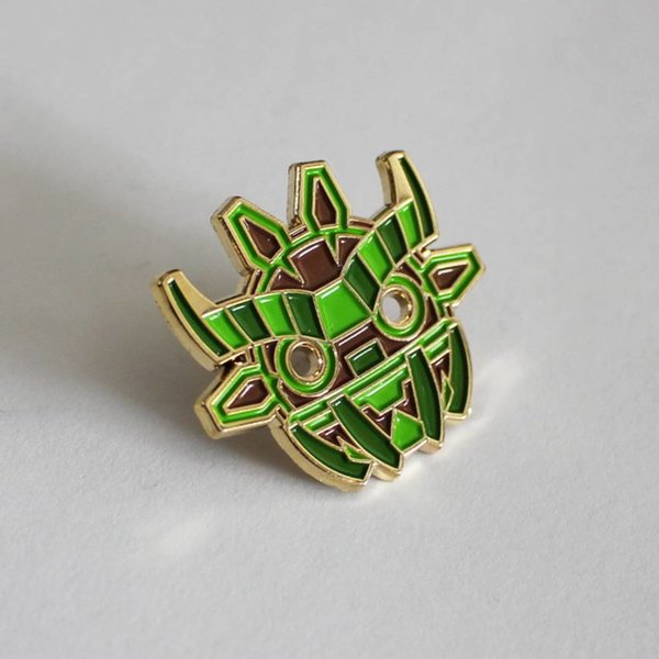 Ancient Boo Mask Pin (Green) by Angry Hedgehog