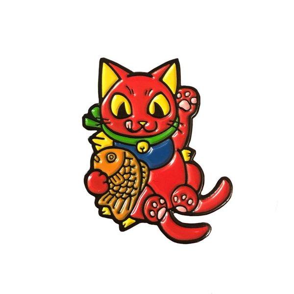 Negora Taiyaki pin (Red & Black) by Konatsu