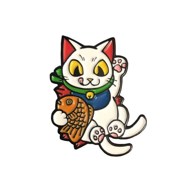 Negora Taiyaki pin (White & Black) by Konatsu