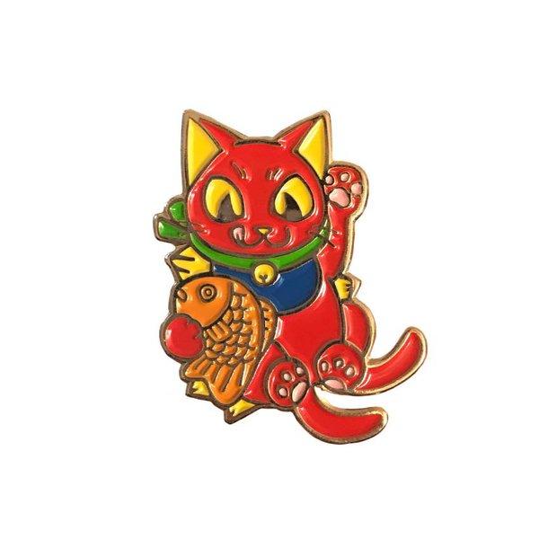 Negora Taiyaki pin (Red & Gold) by Konatsu