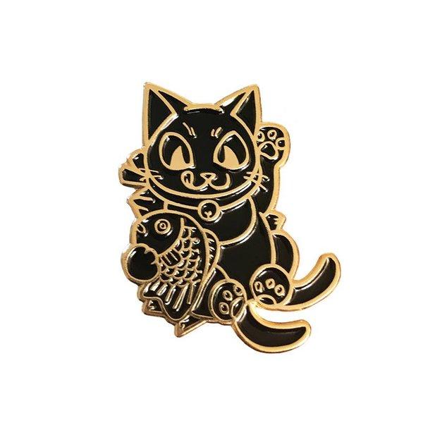 Negora Taiyaki pin (Black & Gold) by Konatsu