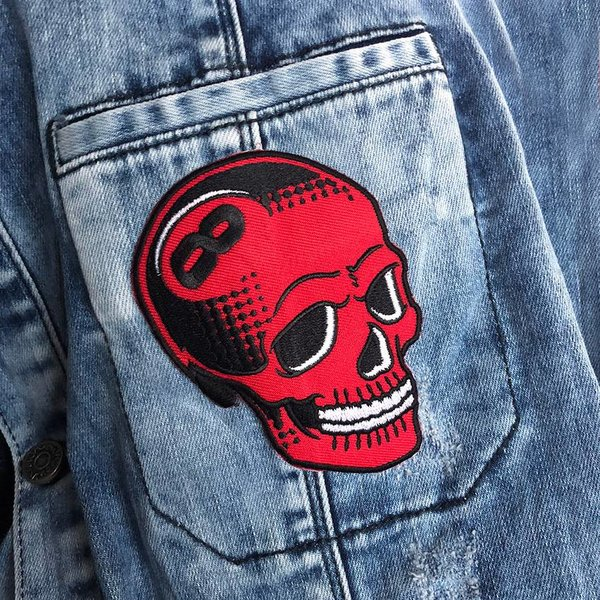 8 Ball Skull (Red) Embroidered patch by Tizieu