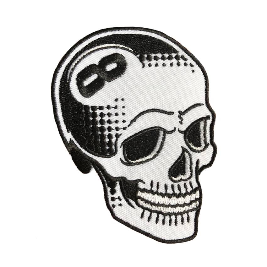 8 ball skull white embroidered patch by tizieu creamlab