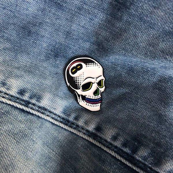 8 Ball Skull Pin (Rainbone) by Tizieu