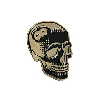 8 Ball Skull Pin (Black & Gold) by Tizieu
