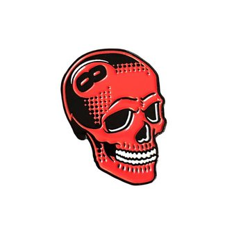 8 Ball Skull Pin (Red) by Tizieu