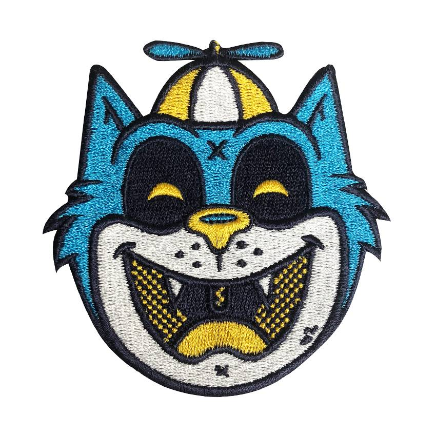 tommy the cat blue embroidered patch by ekiem creamlab