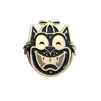 Tommy the Cat Pin (Black & Gold) by Ekiem
