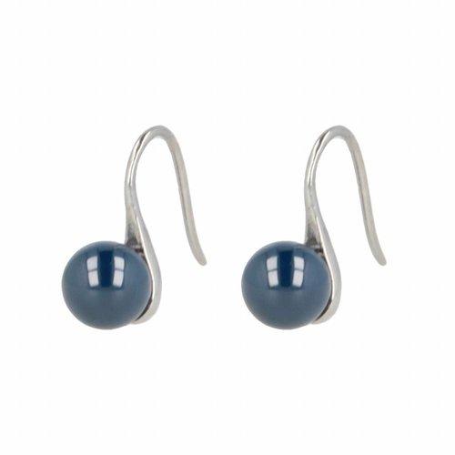 Godina My Bendel keramische oorbellen – GO3008 – Zilverkleurig – Blauw
