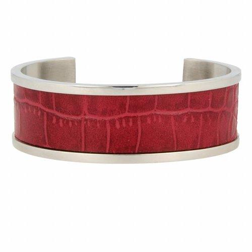 Croco My Bendel zilveren bangle armband met rood leer