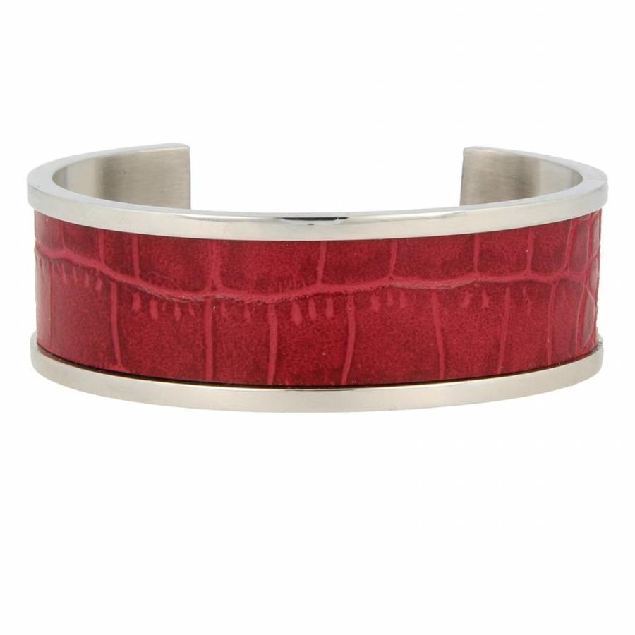 Croco Stoere zilverkleurige edelstalen bangle met rood imitatieleer
