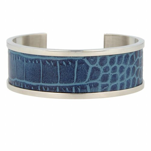 Croco My Bendel silver bangle bracelet with blue leather
