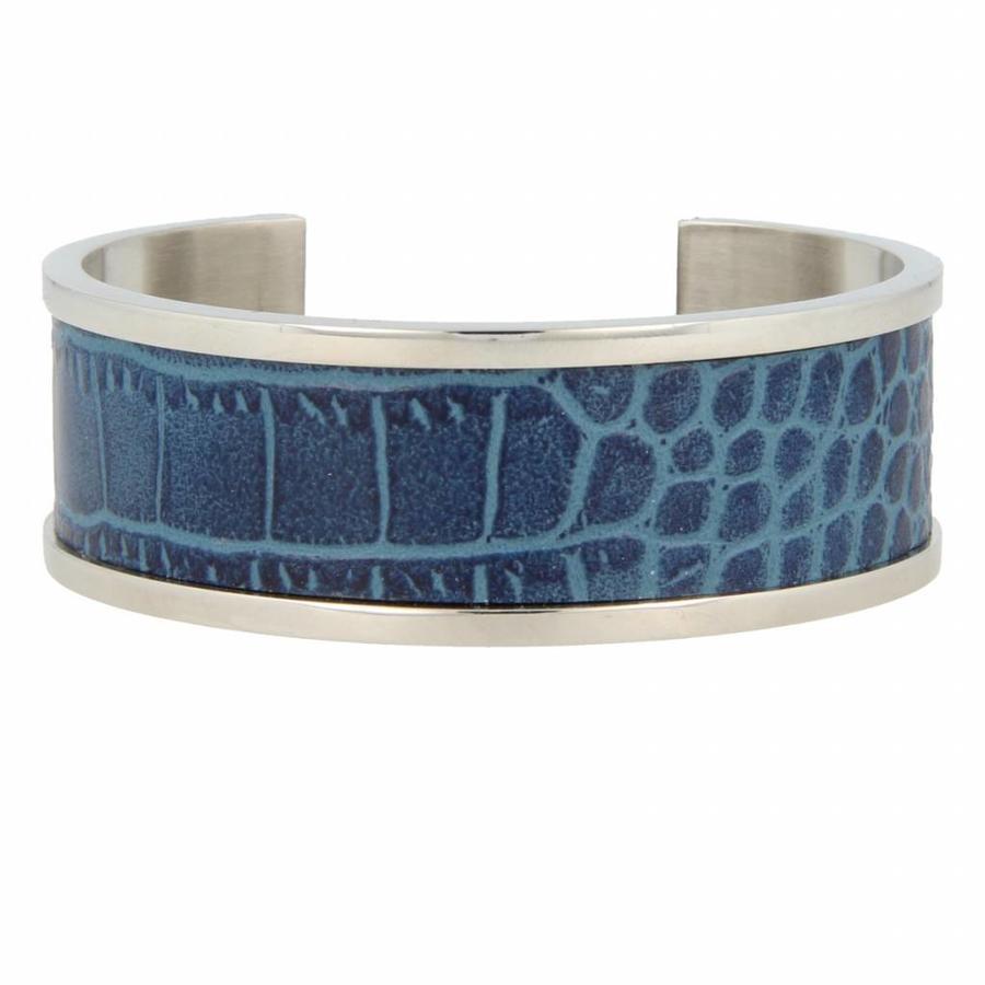 Croco Silberarmreif mit blauem Kunstleder