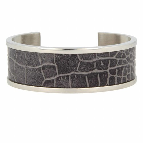 Croco My Bendel silver bangle bracelet with gray leather