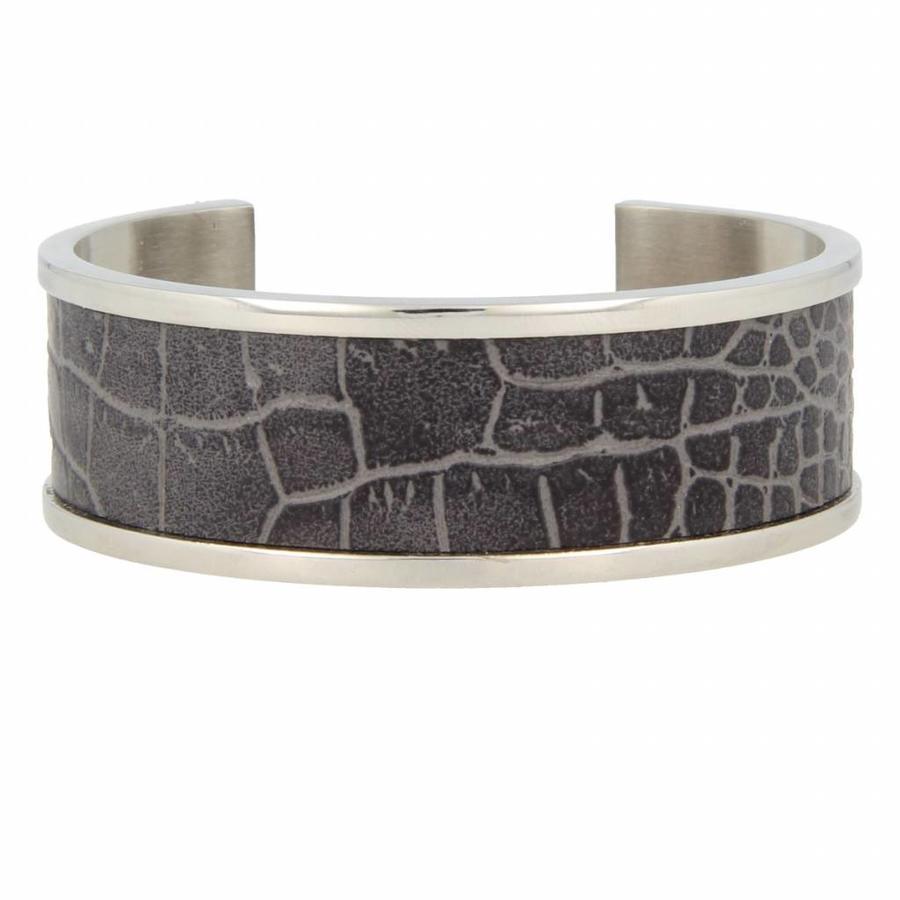 Croco Stoere zilverkleurige edelstalen bangle met grijs imitatieleer