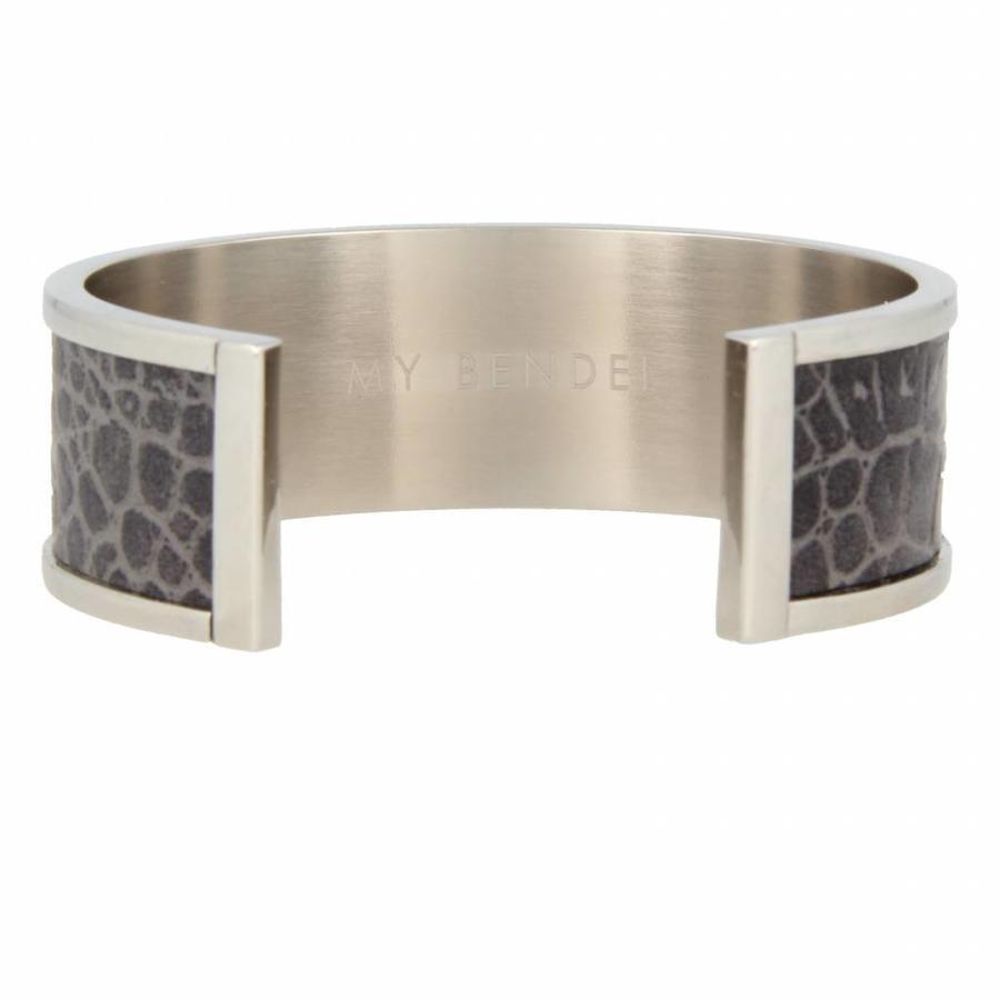 Croco Stoere zilverkleurige open bangle van edelstaal