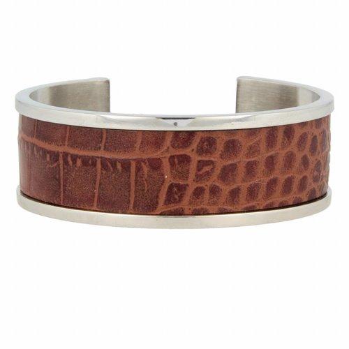 Croco My Bendel zilveren bangle armband met bruin leer