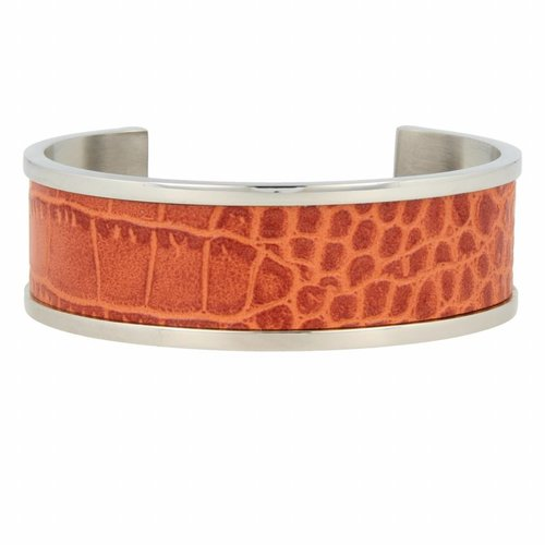 Croco My Bendel silver bangle bracelet with cognac leather