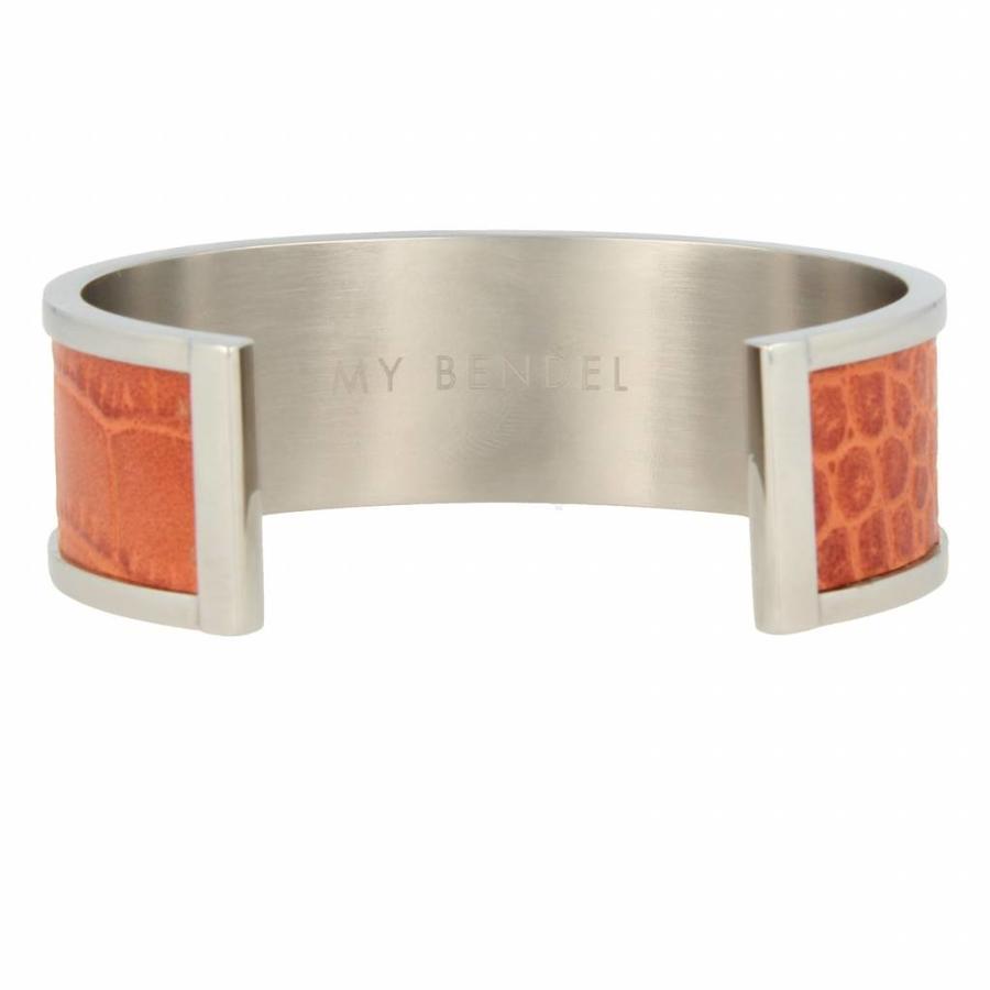 Croco Silver bangle bracelet with cognac faux leather