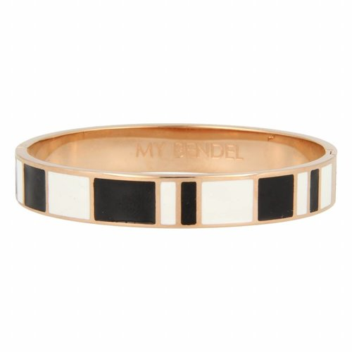 Katina My Bendel rose gold bangle with black and white design