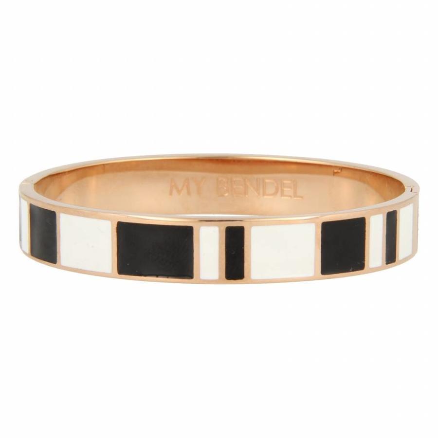Katina Chique rosékleurige edelstalen armband met zwart en wit design