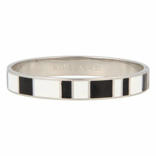 Katina My Bendel silver bangle with black and white design