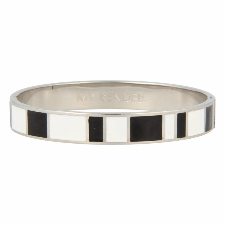 Katina Chique zilverkleurige edelstalen armband met zwart en wit design