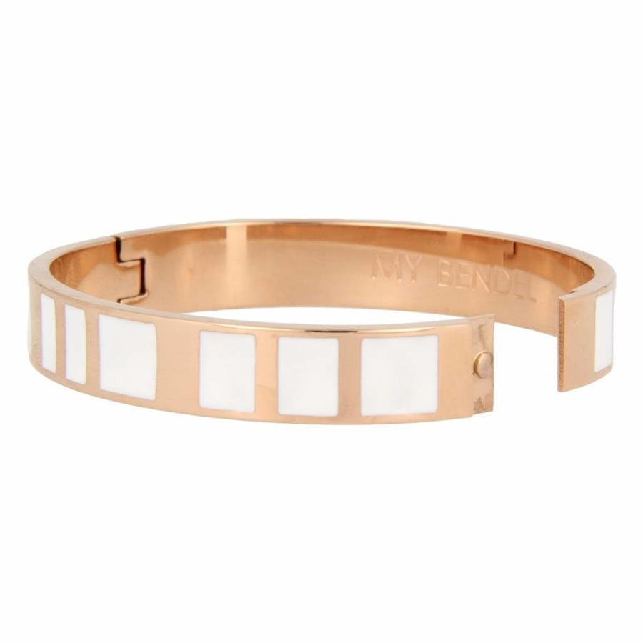 Katina Chique rosékleurige edelstalen armband met wit design