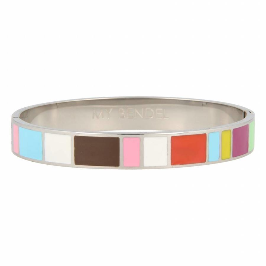 Katina Zilveren bangle met vrolijke kleuren