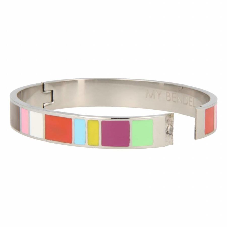 Katina Chique zilverkleurige edelstalen armband met vrolijke kleuren