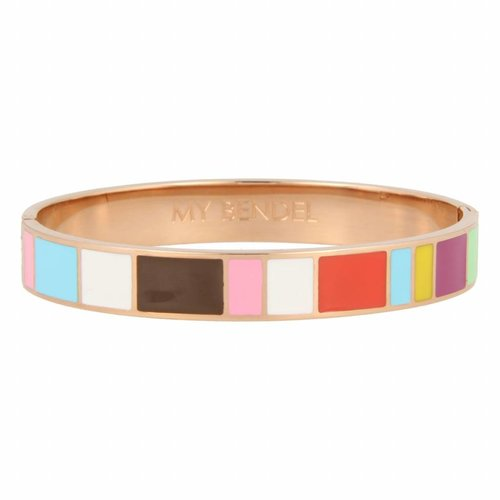 Katina My Bendel rose gold bangle with colorful designs