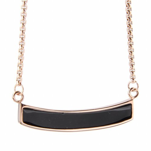 Katina My Bendel - rose gold necklace with black bead