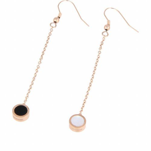Katina My Bendel long rose gold earrings with black and white bead