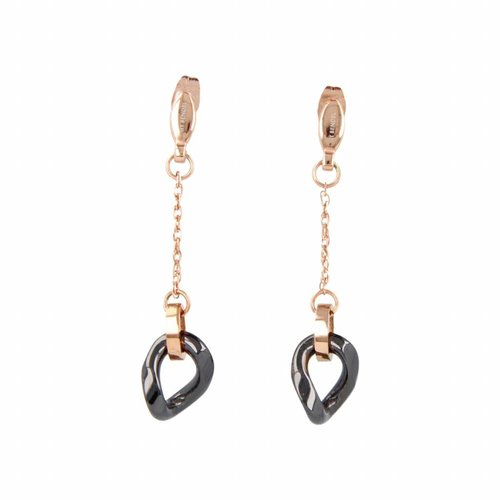 Godina My Bendel long rose gold earring with black ceramic bead