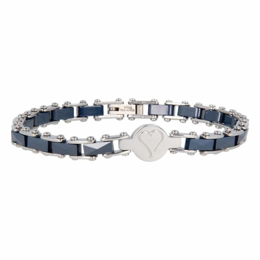 Godina Silver link bracelet made of faceted blue ceramic with a silver heart