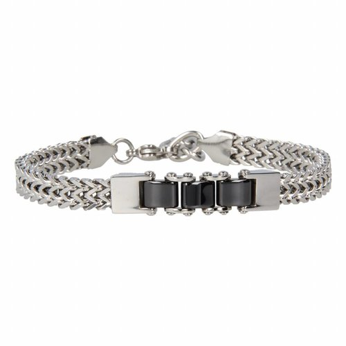 Godina My Bendel sturdy silver link bracelet with black ceramic