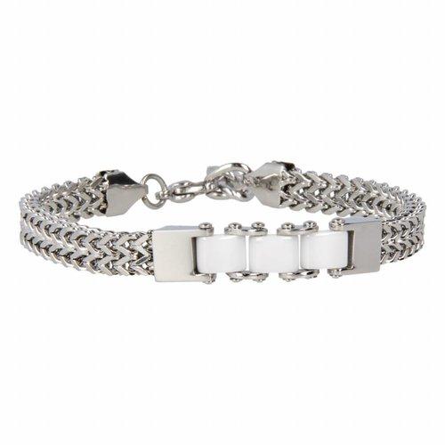Godina My Bendel - Armband - Keramiek - GO1016 - Zilver - Wit - 6 mm