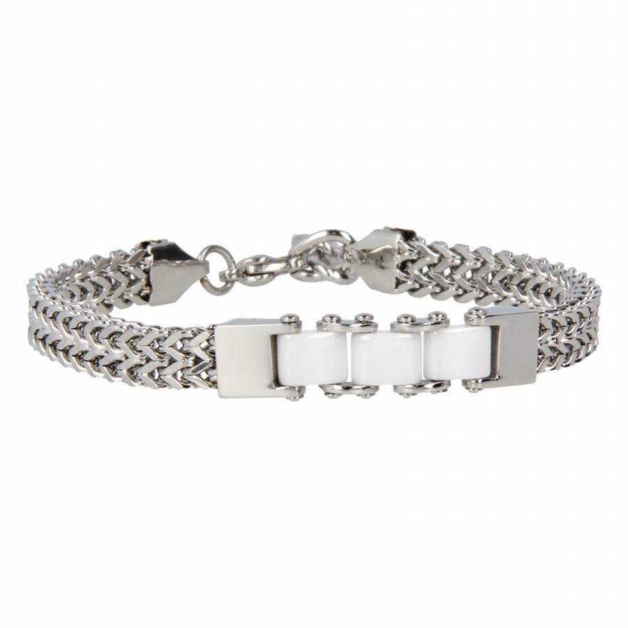 Godina Silver link bracelet with three white ceramic beads